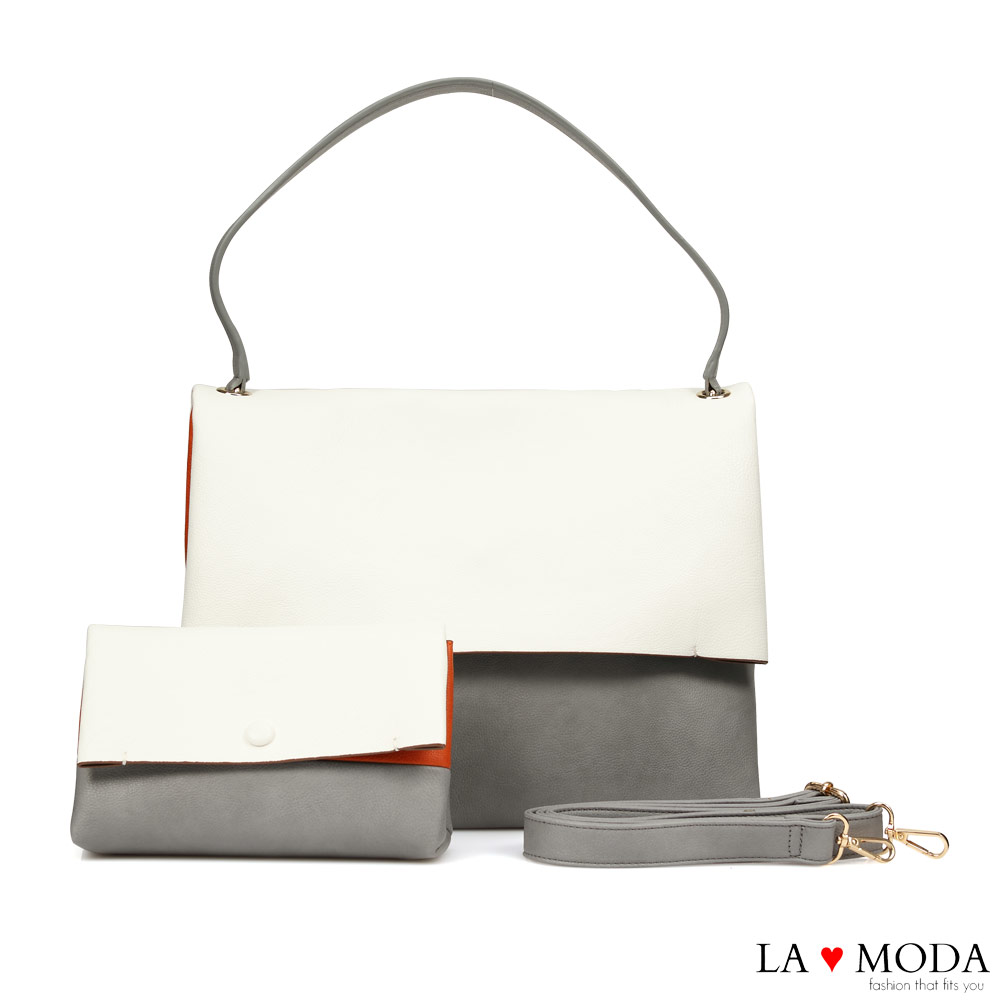 La Moda經典品牌Look設計款拼接撞色肩背斜背子母包(白/灰)