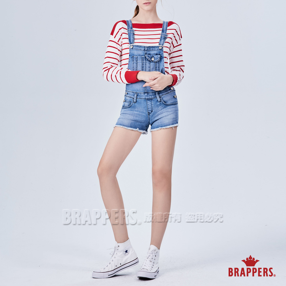BRAPPERS 女款 Boy friend系列-藍牛角刺繡吊帶短褲-藍