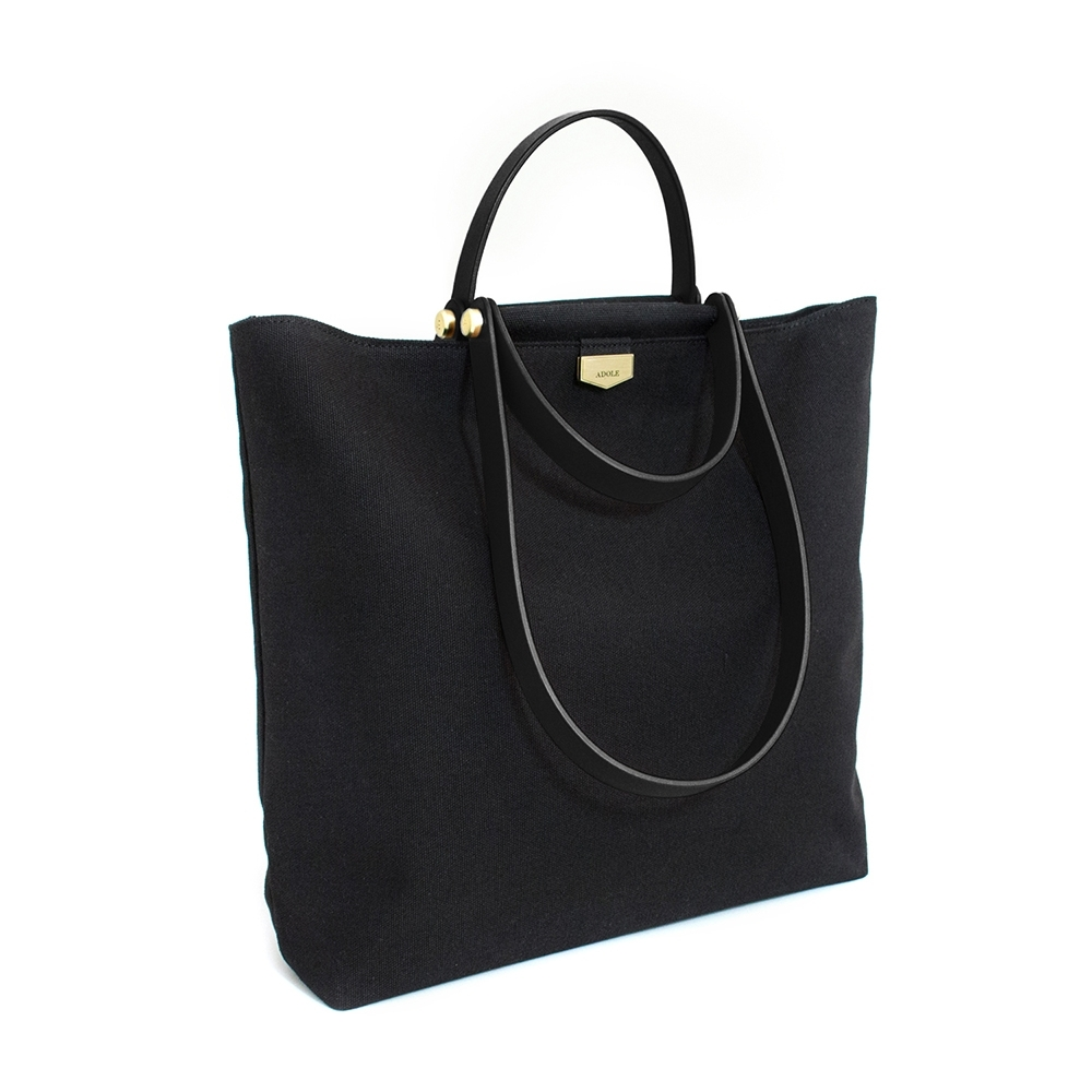 【IBAOBAO愛包包】ADOLE-ADay皮革組合包/黑帆布包+黑色提把