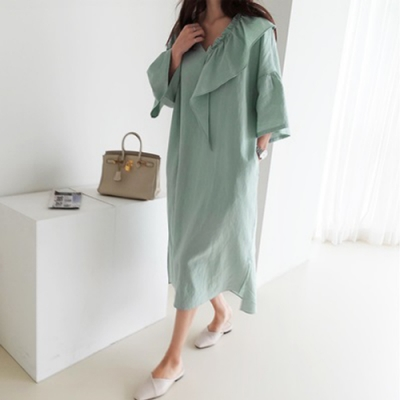 2F韓衣-簡約氣質素色拼接V領造型洋裝-2色(F)