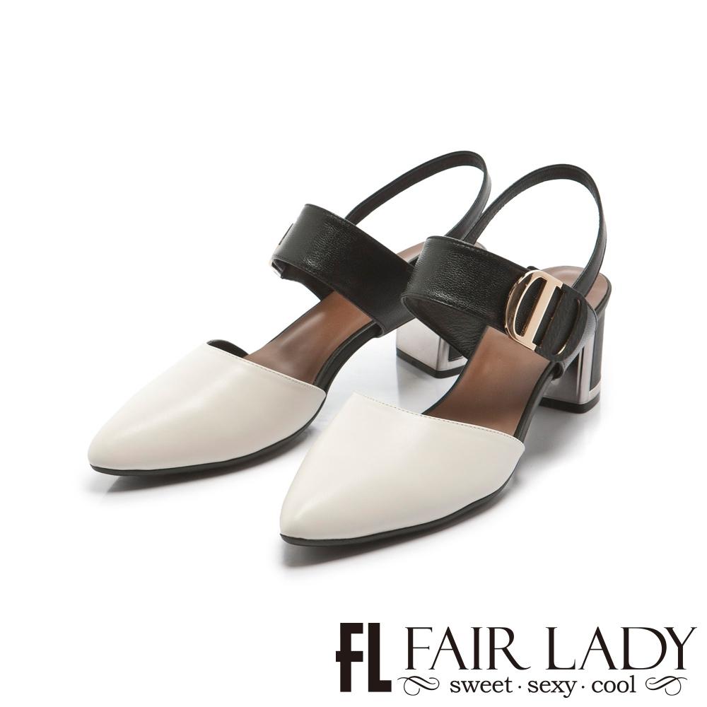 FAIR LADY 優雅小姐Miss Elegant 雙D釦帶撞色尖頭粗跟涼鞋 經典白