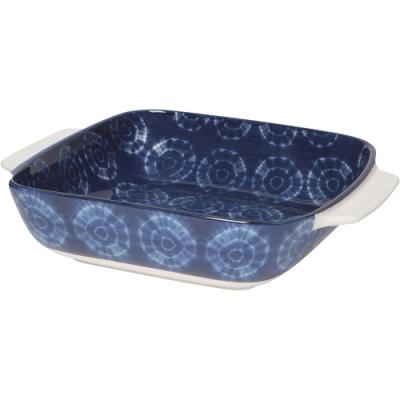 《NOW》圖騰方形深瓷烤盤(藍染20.3cm)