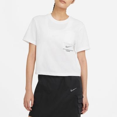 Nike Sportswear Swoosh 女短袖上衣 短版-白-CZ8912100