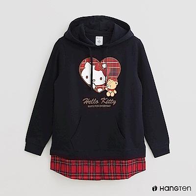Hang Ten -女裝 - Sanrio-學院風拼接格紋長袖帽T - 藍
