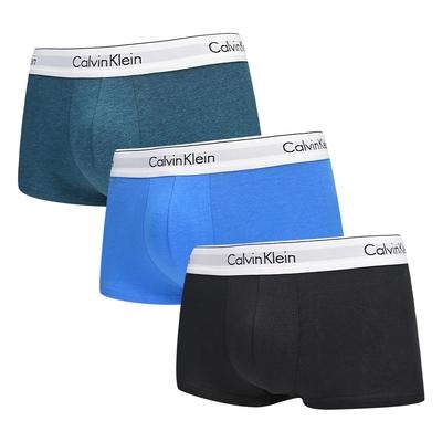 Calvin Klein Modern Cotton Stretch 男內褲 高彈性棉質短版合身四角褲/CK內褲-土耳其藍、藍、黑 三入組