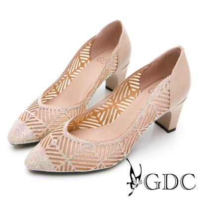 GDC-真皮細緻水鑽簍空宴會尖頭跟鞋-卡其色