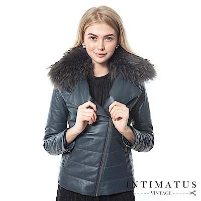 INTIMATUS真皮 奢華貉毛貂毛鋪棉頂級小羊皮皮衣 獨特鐵灰