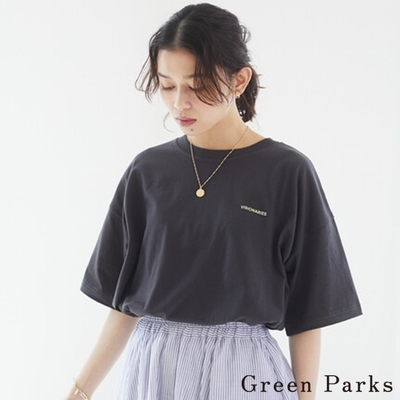 Green Parks  字母徽標打印T恤上衣