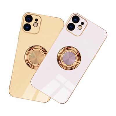 iPhone12手機殼 電鍍金邊 矽膠 磁吸指環 手機保護殼