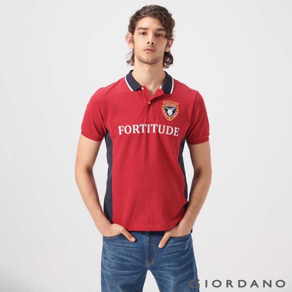 GIORDANO 男裝經典配色麋鹿刺繡短袖POLO衫-41 標誌紅/海軍藍