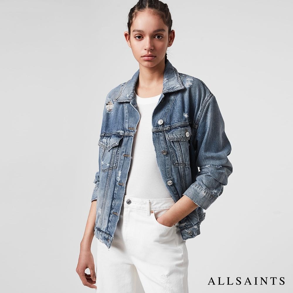 ALLSAINTS MILA 經典磨損仿舊柔軟輕棉質牛仔外套-靛藍