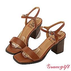 Grace gift X Kerina -聯名一字繫帶方頭高跟涼鞋 棕