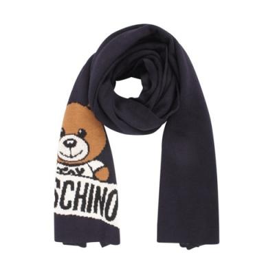 MOSCHINO 經典泰迪熊字母LOGO圖案混織羊毛圍巾/披肩 深藍色