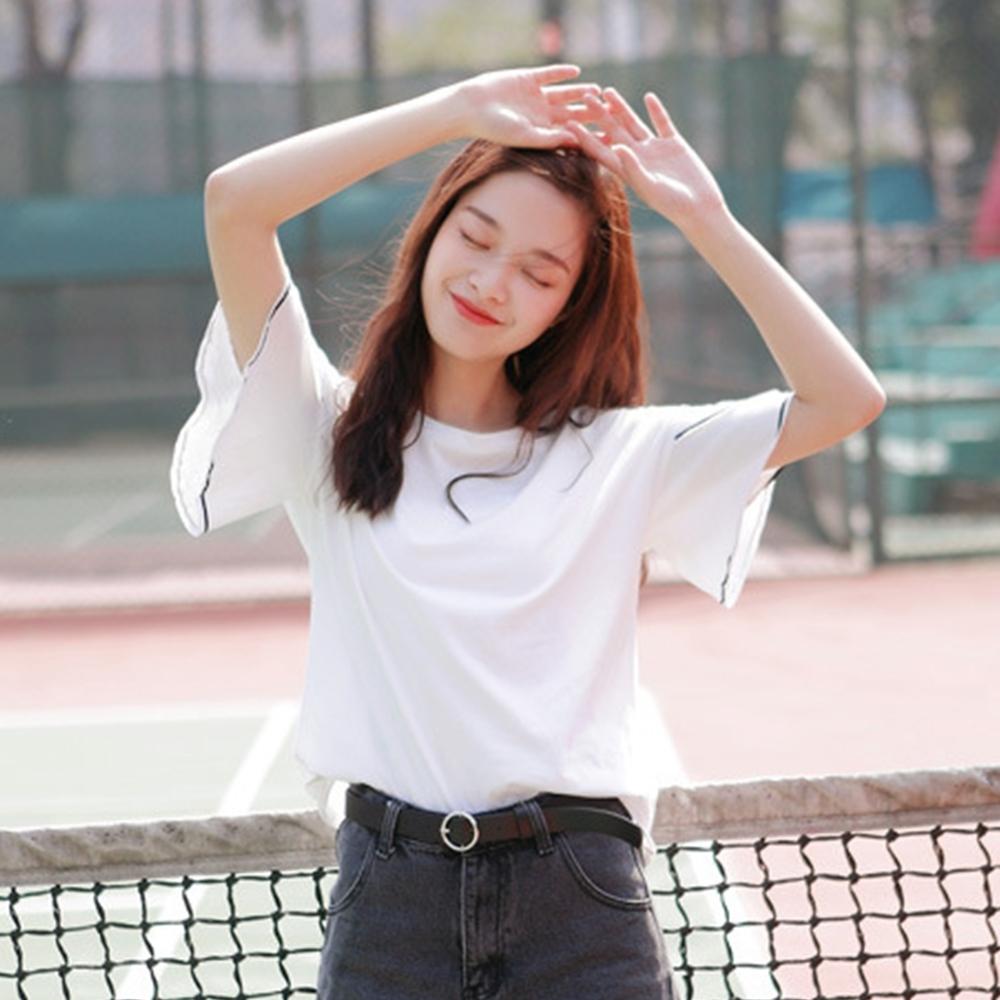 Lockers 木櫃  韓版圓領飄逸雙層袖T恤/上衣-2色