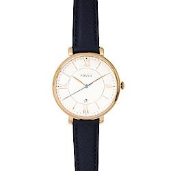 FOSSIL 美國精品手錶 JACQUELINE白錶盤x玫瑰金錶框深藍皮革錶帶36mm
