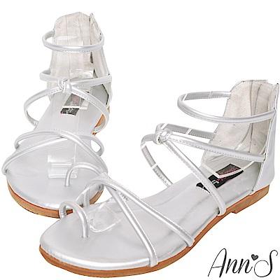 Ann'S好看的減壓柔軟羅馬平底涼鞋-銀