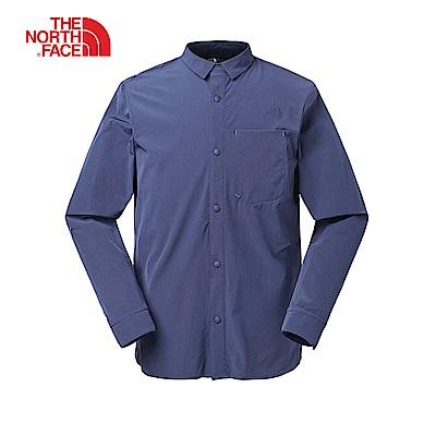 The North Face北面男款藍色防潑水運動長袖襯衫|3RKPH2G