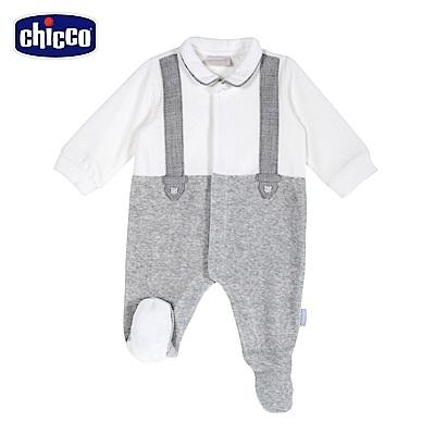 chicco-星空熊系列-剪毛絨假吊帶前開兔裝-米(3-12個月)