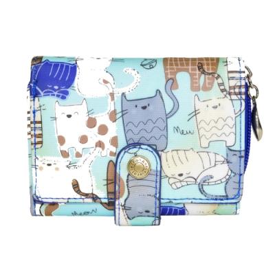 Miyo俏皮的貓圓釦拉鍊短夾(藍)