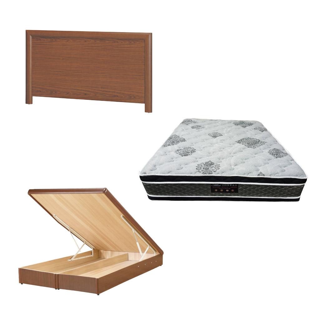 綠活居 羅多6尺雙人加大床台三式組合(床頭片+後掀床底+正四線柔纖獨立筒)五色可選