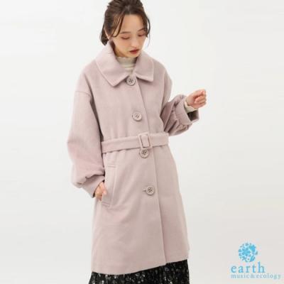 earth music 2WAY可拆領蓬袖腰帶大衣外套