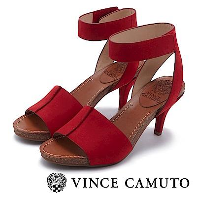 Vince Camuto 拼接寬版木紋魚口高跟涼鞋-紅色