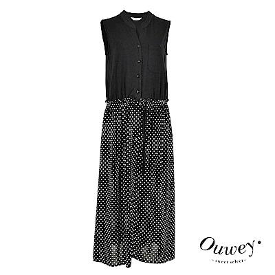 OUWEY歐薇 襯衫式點點長版洋裝(黑)