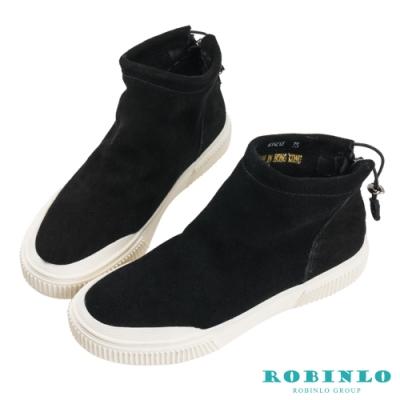 Robinlo 簡約素面絨布拉鍊短靴 黑色