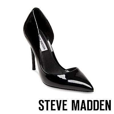 STEVE MADDEN-DREA 鏡面尖頭側空高跟鞋-鏡黑