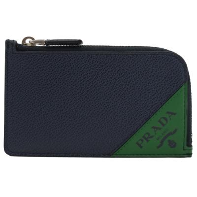 PRADA 三角LOGO牛皮L型拉鍊卡片零錢包(深藍/綠邊)