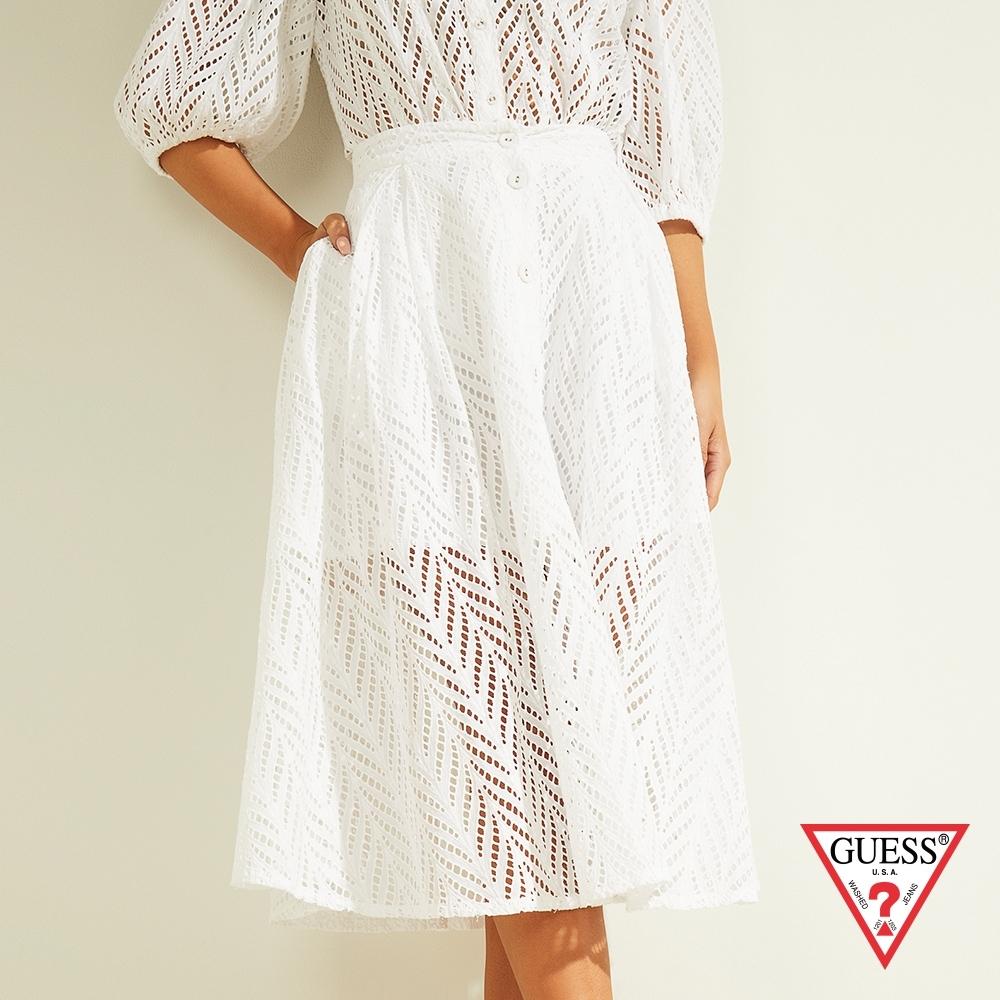 GUESS-女裝-氣質簍空蕾絲雙層半身長裙-白 原價2990