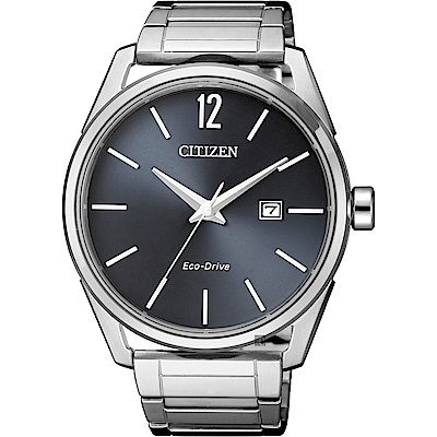 CITIZEN 星辰 光動能極簡大三針手錶(BM7411-83H)-灰x銀/42mm