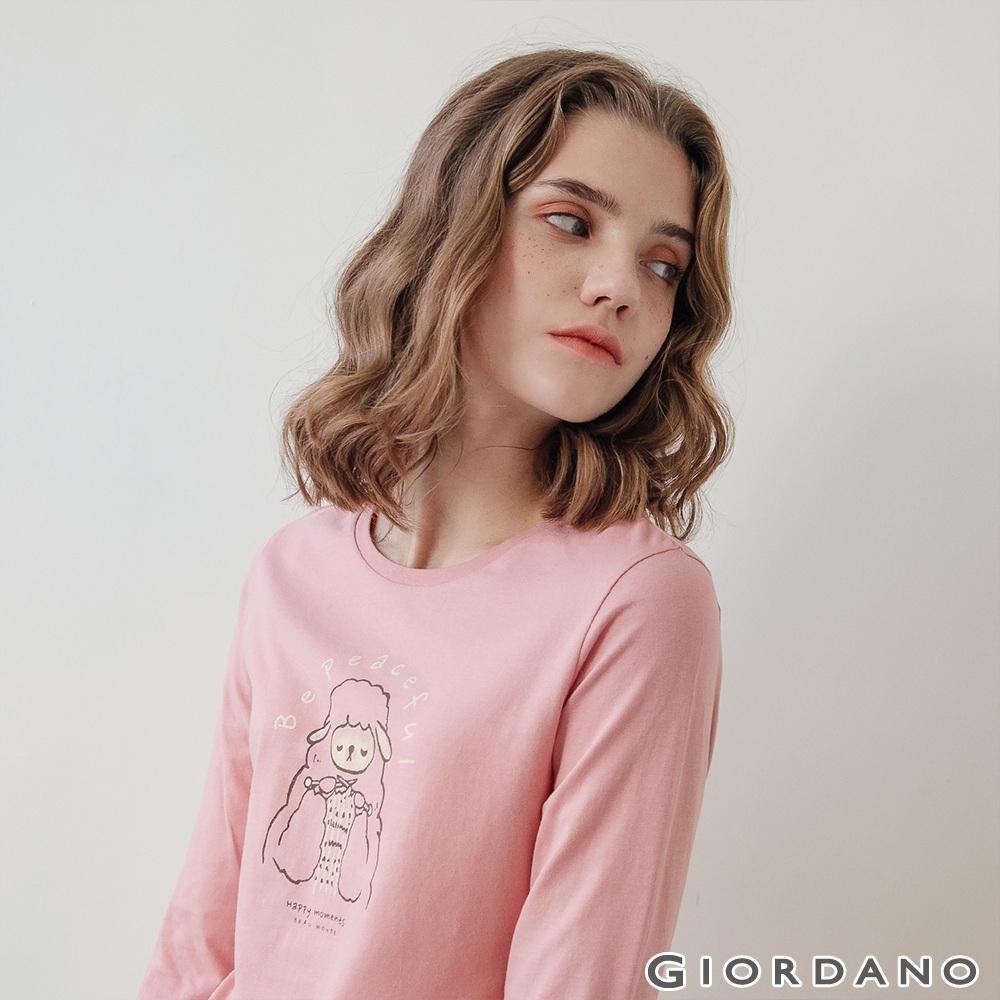 GIORDANO  女裝HAPPY MOMENTS印花長袖T恤- 61 玫瑰粉