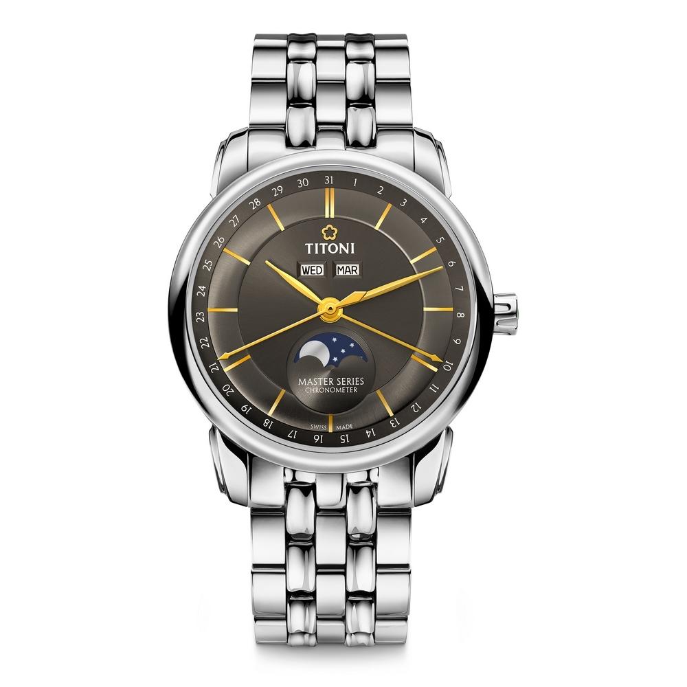 TITONI瑞士梅花錶 大師系列天文台認證月相錶(94588 S-637)-炭灰/41mm