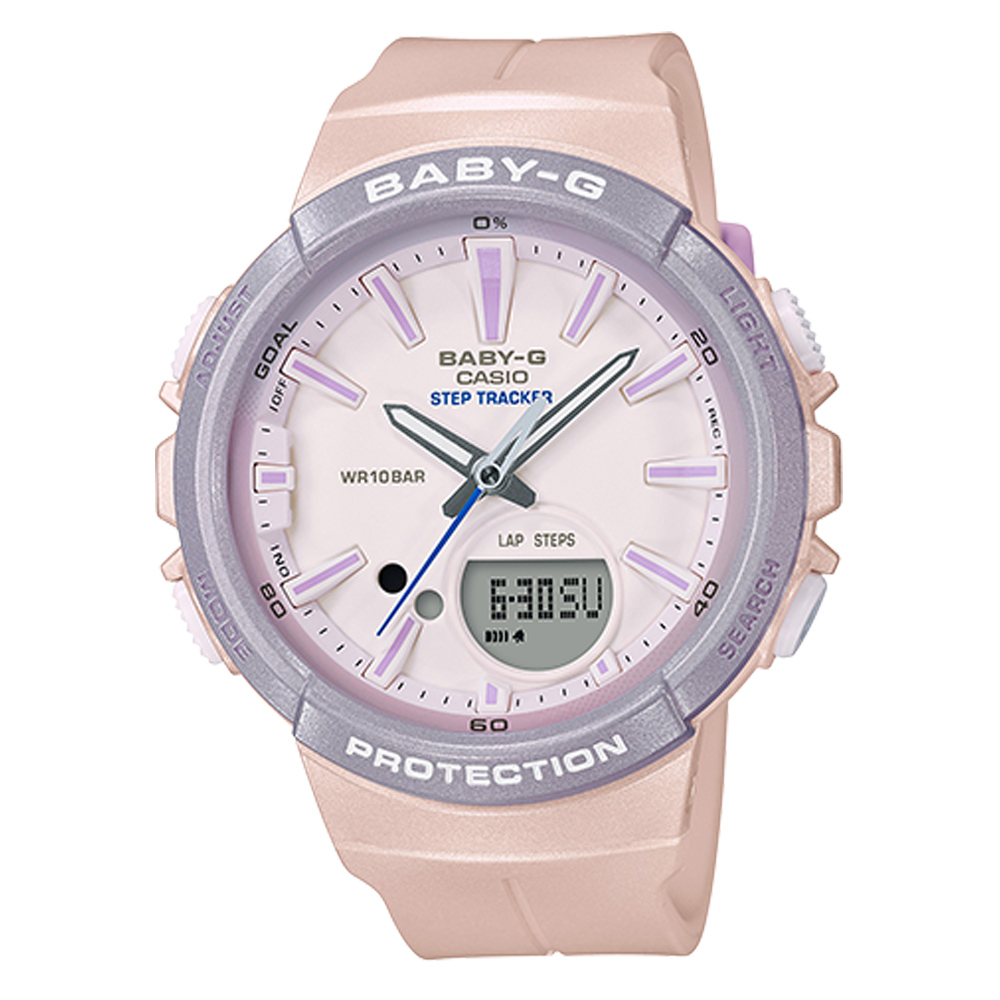 BABY-G 女孩愛慢跑系列計步功能休閒錶(BGS-100SC-4)粉紅X粉紫42.6mm @ Y!購物
