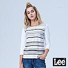Lee 七分袖條紋圓領TEE/BO-白色