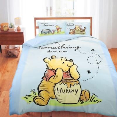 享夢城堡 雙人床包薄被套四件組-迪士尼小熊維尼Pooh 蜂蜜小事-米黃.藍