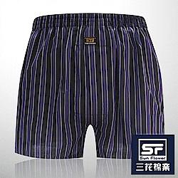 男內褲 Sun Flower三花 5片式平口褲.四角褲_黑紫條