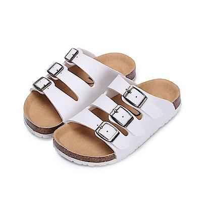 BuyGlasses 經典三排釦飾兒童拖鞋-白