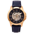 FOSSIL 簍空設計款圓弧鏡面的機械手錶(ME3102)-藍面/44mm
