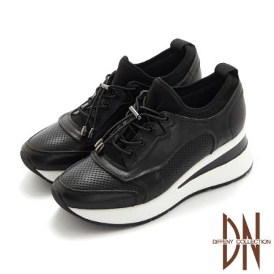 DN休閒鞋_真皮拼接彈力布繫帶造型厚底休閒鞋-黑