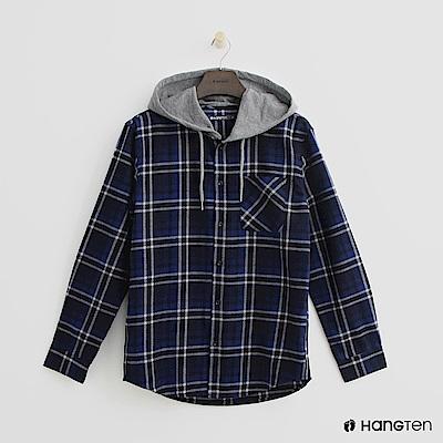 Hang Ten - 格紋排扣連帽上衣-藍