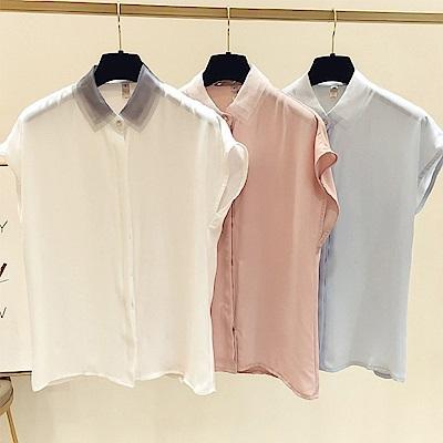 初色  純色無袖雪紡襯衫-共3色-(M-2XL可選)