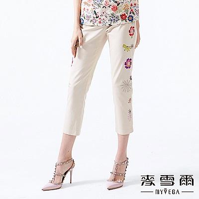 【麥雪爾】純棉多彩花漾刺繡長褲