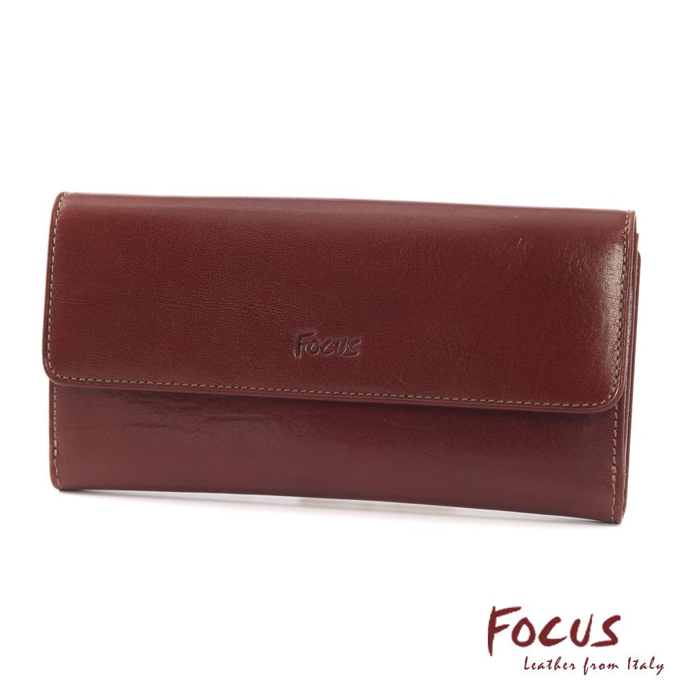 FOCUS經典原皮多功能舌扣長夾(FTC3678)