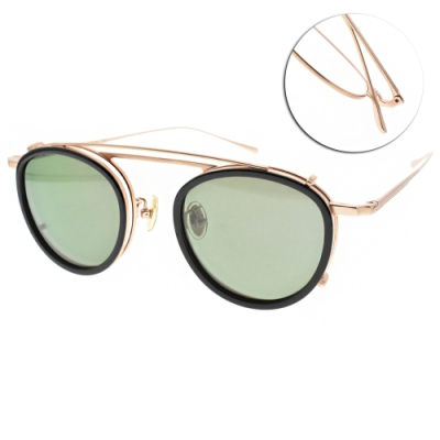 NINE ACCORD 光學眼鏡贈前掛式偏光墨鏡 圓框款 /霧金  #TI OVERLAP C3