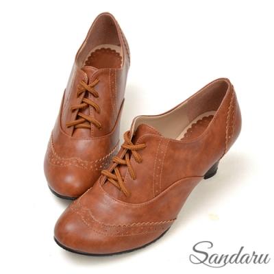 山打努SANDARU-復古刷色雕花綁帶牛津鞋-棕