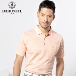 BARONECE 百諾禮士休閒商務 男裝 雙色網眼條紋短袖POLO衫-粉橘色(1188274-65)