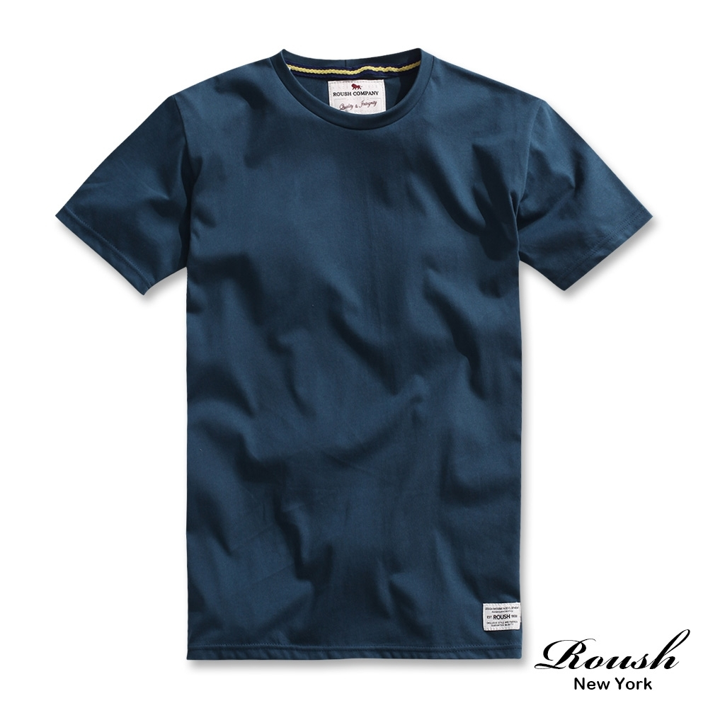 Roush 高磅數水洗棉素面圓領短TEE(6色) (空軍藍)