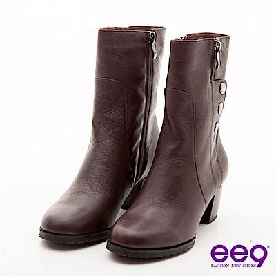 ee9 都會佳麗~造型拉鍊金屬釦真皮中筒粗跟靴~優雅咖